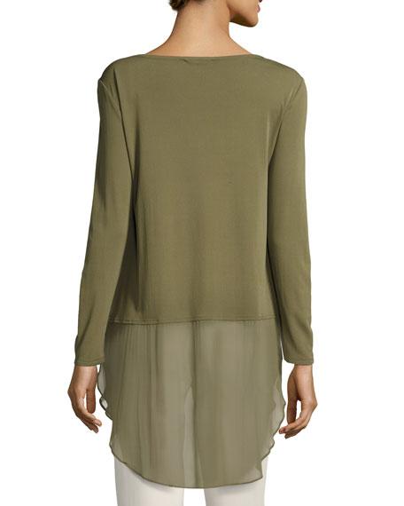 Long-Sleeve Silk Jersey Tunic w/ Sheer Layer, Petite