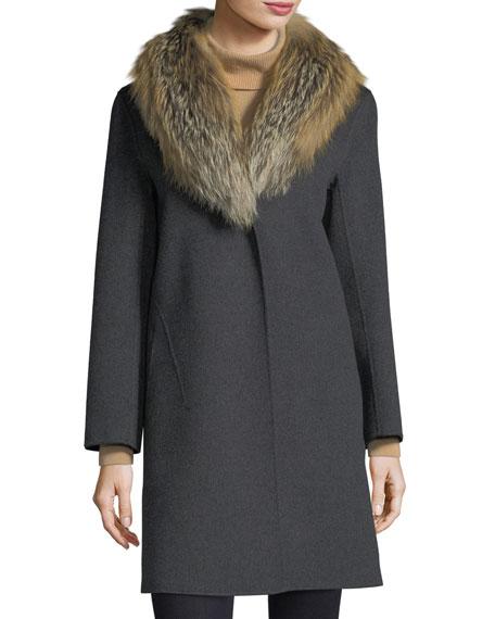 Luxury Double-Face Cashmere Coat w/ Fox Fur Collar