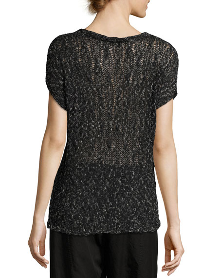 Cap-Sleeve V-Neck Semisheer Knit Top, Petite