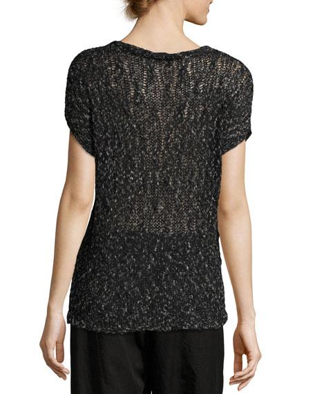 Cap-Sleeve V-Neck Semisheer Knit Top, Petite