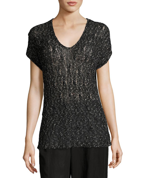 Eileen Fisher Cap-Sleeve V-Neck Semisheer Knit Top, Petite