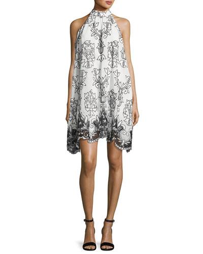 Sleeveless Voile Fleur de Lis Cocktail Dress, White/Black