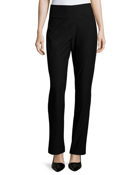 Eileen Fisher Stretch Crepe Boot-Cut Pants, Black and