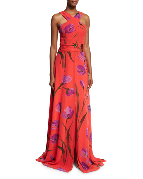 David Meister Cross-Front Floral Chiffon Gown, Red/Purple