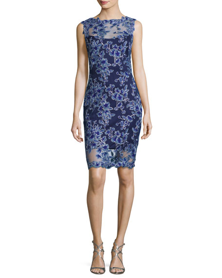 Tadashi Shoji Sleeveless Floral Mesh Cocktail Dress, Blue-Violet