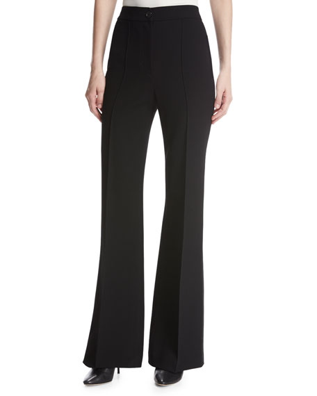 High-Waist Pintuck Flared Pants, Black