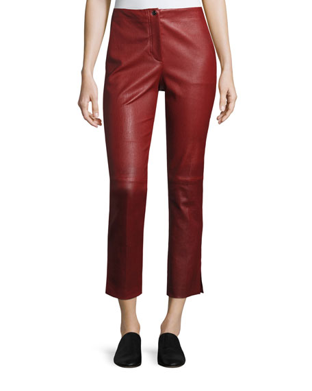 Helmut Lang Straight Cropped Leather Pants, Ruby