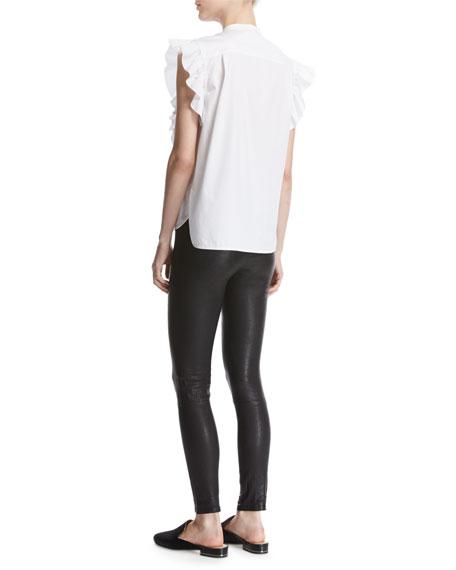 Ruffle Bib Sleeveless Poplin Shirt, White