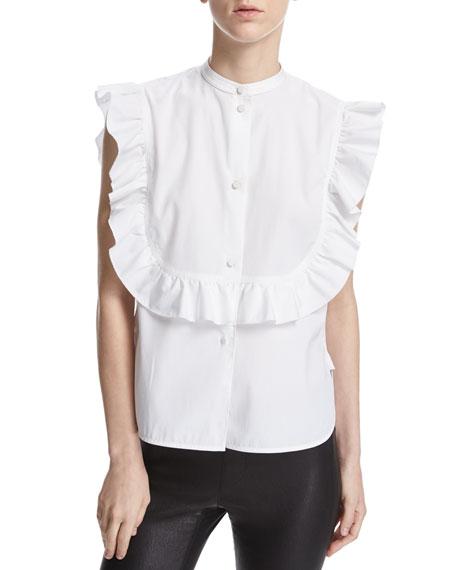 Helmut Lang Ruffle Bib Sleeveless Poplin Shirt, White
