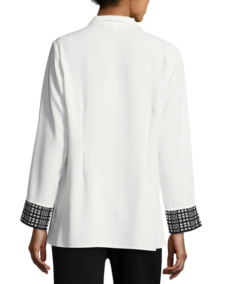 Silky Shirt w/ Knit Cuffs, White/Black