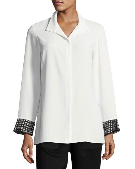 Misook Collection Long-Sleeve Knit Cuffs Button-Front Shirt,