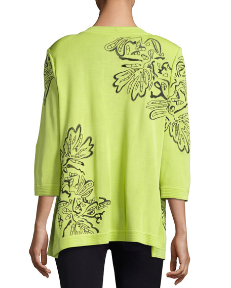 Standout Side-Slit Jacket, Chartreuse/Navy