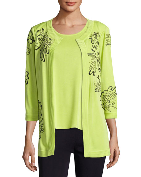 Misook Standout Side-Slit Jacket, Chartreuse/Navy and Matching