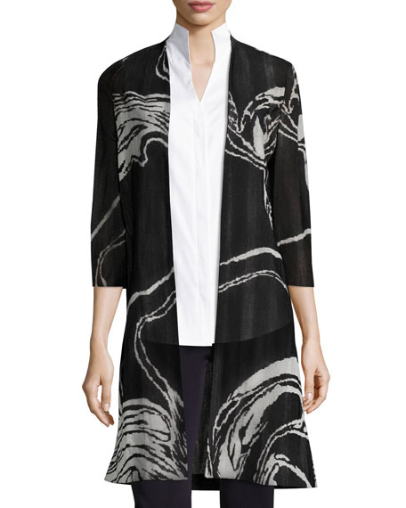 Misook 3/4 Sleeve Swirl Print Long Knit Jacket,