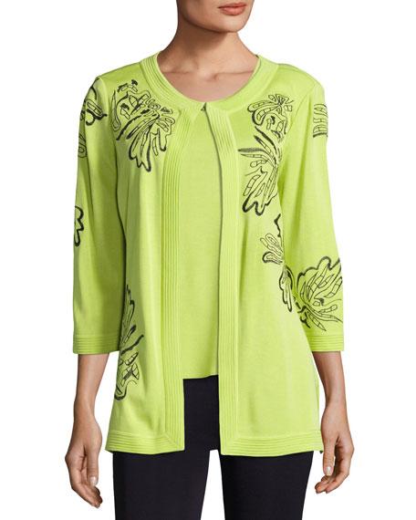 3/4 Sleeve Side-Slit Jacket, Plus Size
