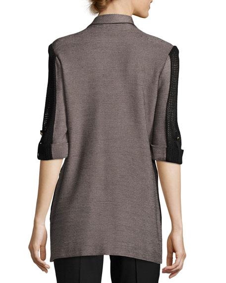3/4 Contrast Sleeve Zip-Pocket Jacket, Plus Size