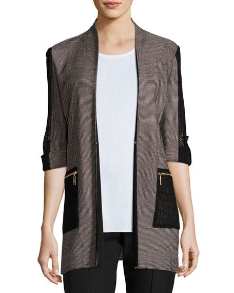 3/4 Contrast Sleeve Zip-Pocket Jacket, Plus Size