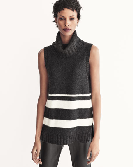 Cashmere Chain-Trim Striped Sleeveless Turtleneck
