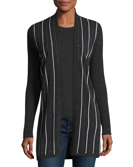 Chain-Striped Cashmere Cardigan