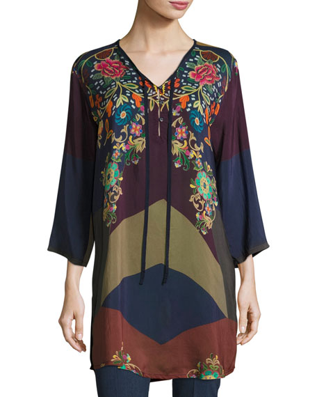 Johnny Was Ludios Tie-Front Georgette Tunic, Plus Size