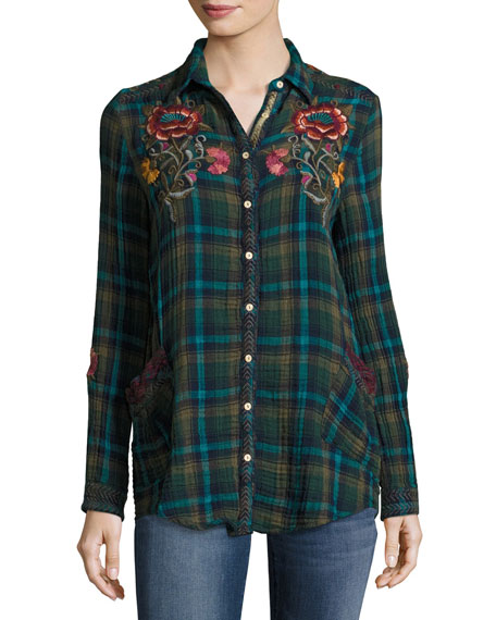 Johnny Was Bonnie Jasmine Plaid Embroidered Shirt, Multicolor,