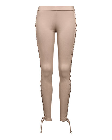 Lace-Up Stretch-Knit Leggings, Beige