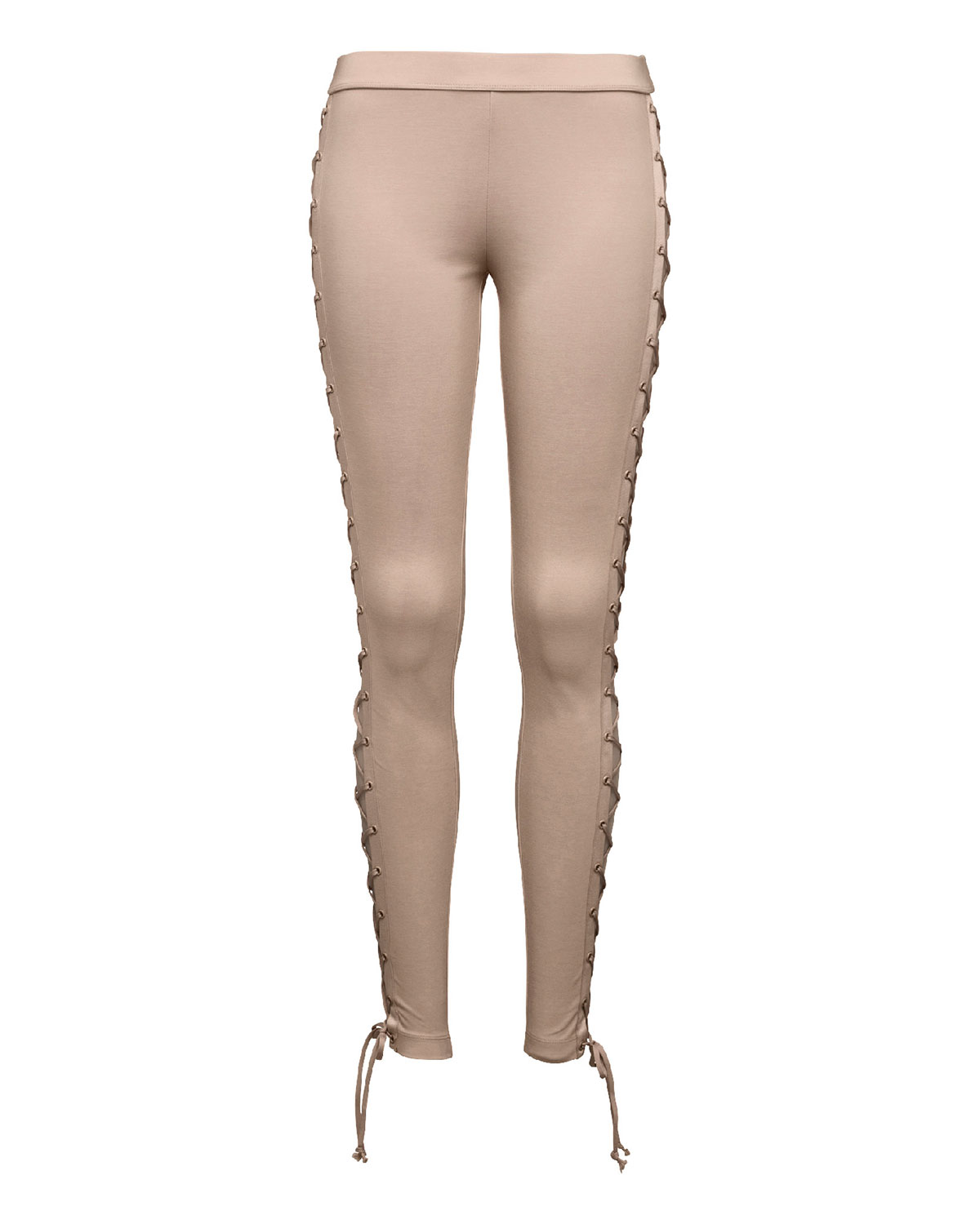 82f93a21122d Fenty Puma by Rihanna Lace-Up Stretch-Knit Leggings, Beige   Neiman ...