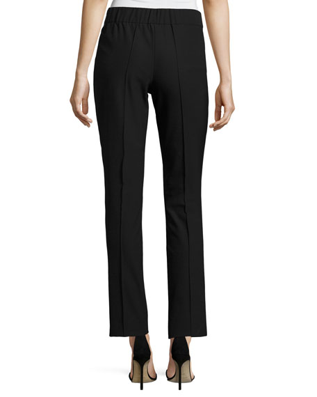 Slim-Leg Stretch Techno Pants, Black