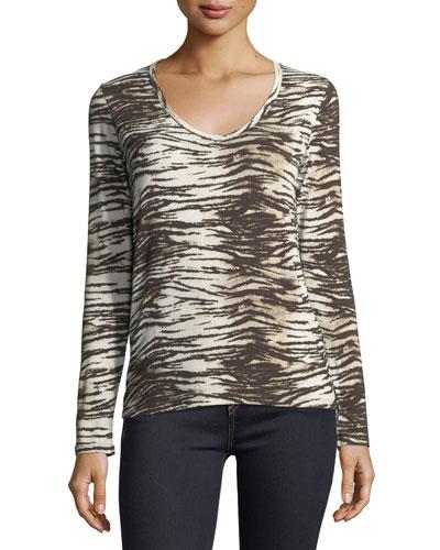 Long-Sleeve V-Neck Tiger-Print T-Shirt