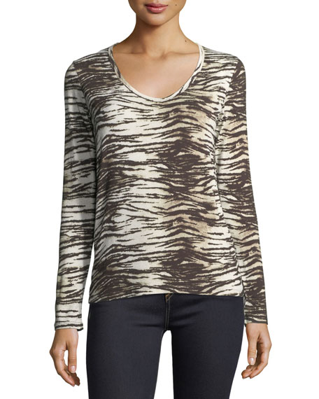 Majestic Paris for Neiman Marcus Long-Sleeve V-Neck Tiger-Print