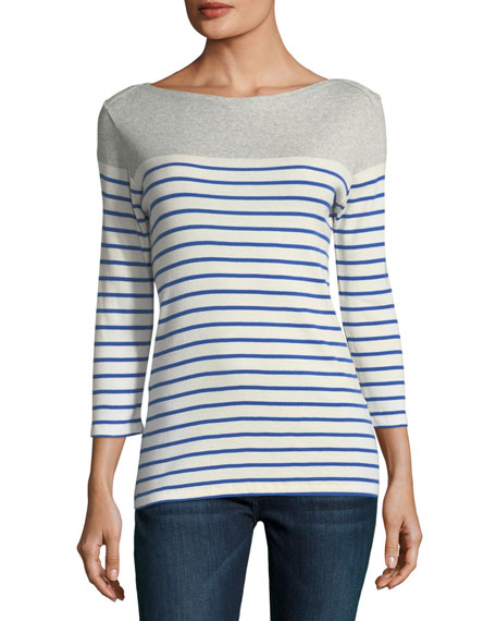 Striped Cotton Boat-Neck Top