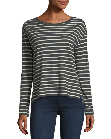 Majestic Paris for Neiman Marcus Long-Sleeve Striped