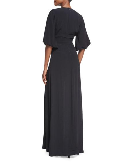 Mirren V-Neck Slit Maxi Dress, Black