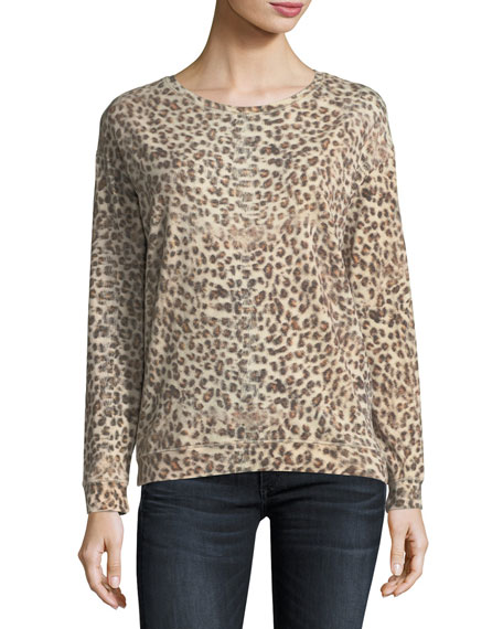 Majestic Paris for Neiman Marcus Leopard-Print Cotton/Cashmere