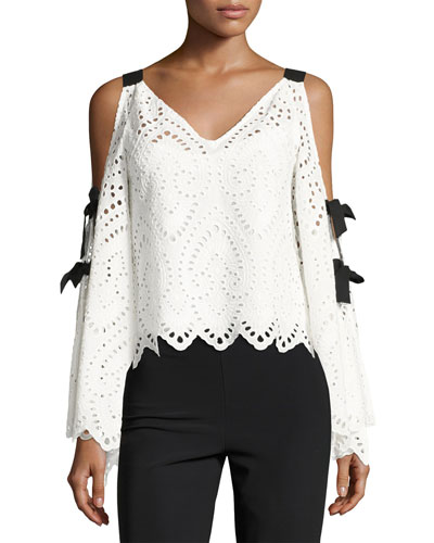 Hook Line Sinker Cold-Shoulder Eyelet Top, White