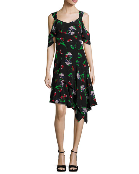 Nanette Lepore Sultry Sunset Floral Silk Cold-Shoulder Dress,