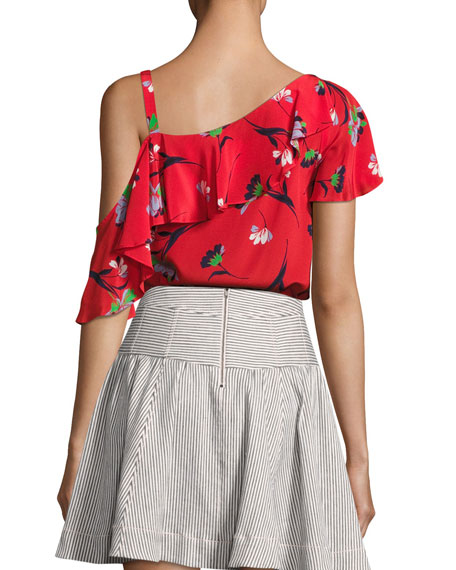 Hazy Days Asymmetric Floral Silk Top, Red/Multicolor