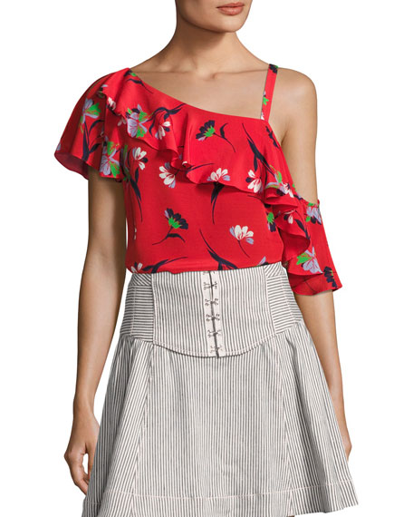 Nanette Lepore Hazy Days Asymmetric Floral Silk Top,