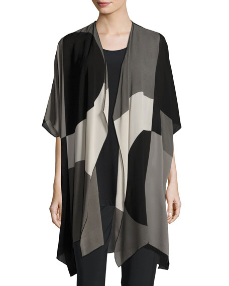 Geo Georgette Cardigan, Multi/Black, Plus Size