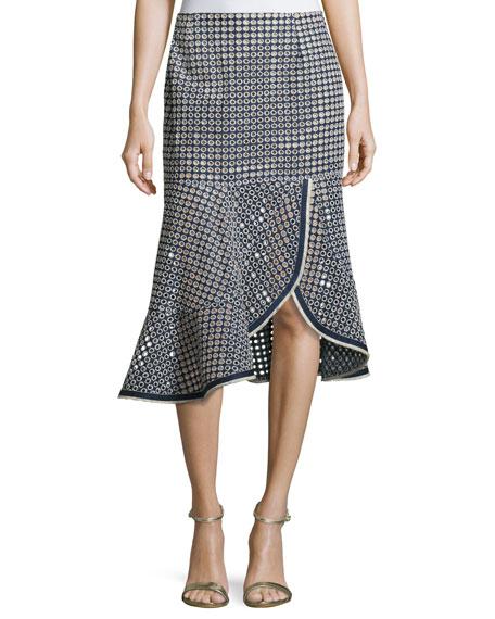 Nanette Lepore Surfside Eyelet Mid Skirt, Chambray