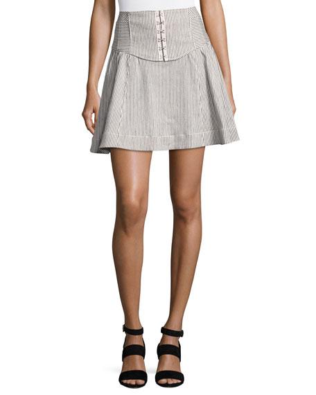 Nanette Lepore Seaspray Striped Corset Skirt, Cream/Indigo