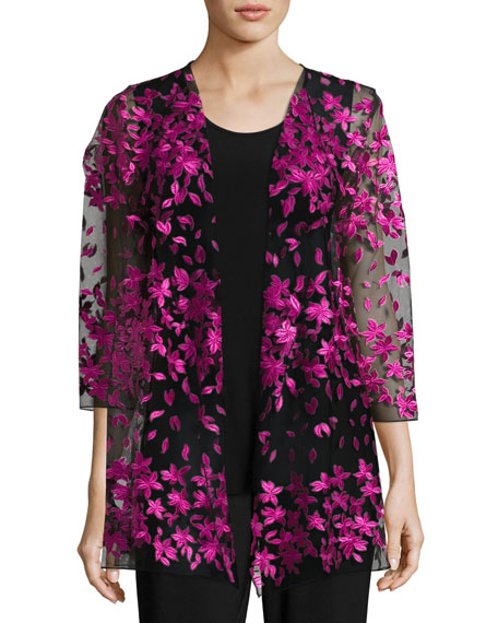 Caroline Rose Floral Notes Draped Jacket, Azalea and