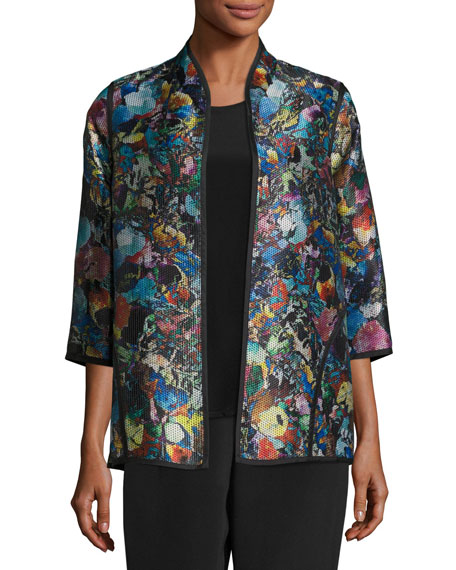 Caroline Rose Moody Blooms Printed Easy Jacket, Plus