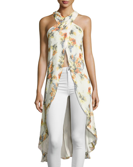 Haute Hippie Jane High-Low Floral-Print Top, Multi