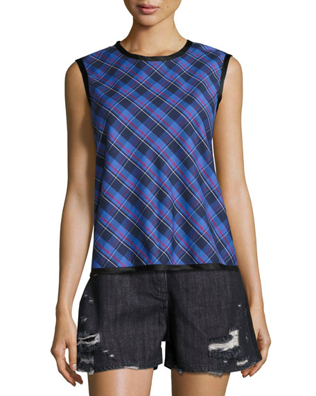 Public School Dalya Plaid Sleeveless Cotton Top, Blue