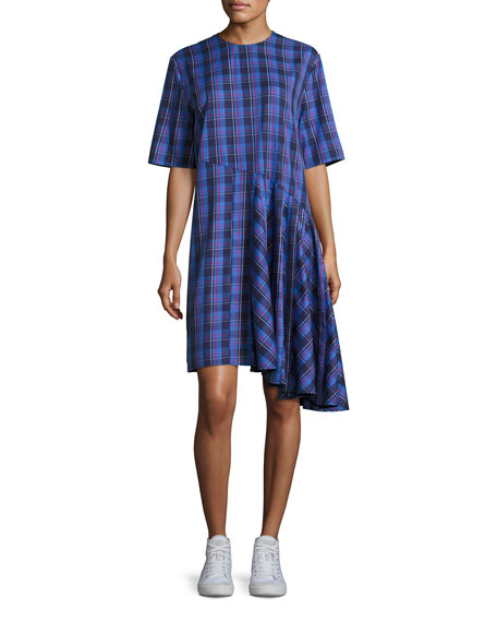 Public School Rima Plaid Cotton Dress, Blue Pattern