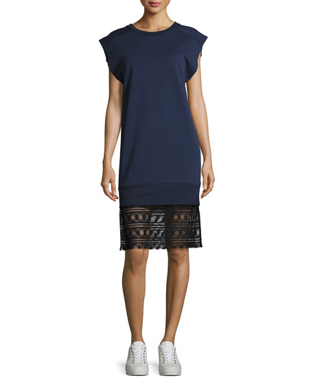 Tesa Cotton Lace Shift Dress, Dark Blue