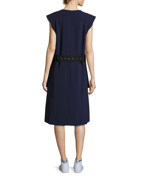 Tamir V-Neck Belted Crepe Dress, Dark Blue