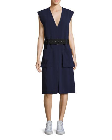 Public School Tamir V-Neck Belted Crepe Dress, Dark