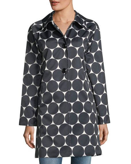 dot button-front hooded rain coat